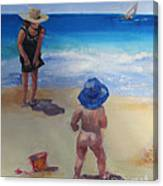 Beach Baby With Blue Hat Canvas Print