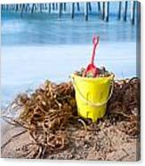 Beach Bucket In Sand Canvas Print