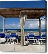 Beach Cabana With Lounge Chairs Canvas Print