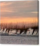 Beach Chairs At Dusk Canvas Print