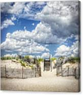 Beach Clouds And Fence Canvas Print