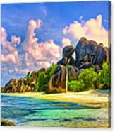 Beach Cove On La Digue Canvas Print