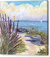 Beach Fence With Ferry Canvas Print