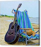 Beach Guitar Canvas Print