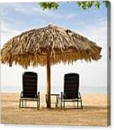 Beach Hut For Two Canvas Print