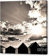 Beach Huts In Black And White Canvas Print