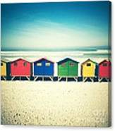 Beach Huts Muizenberg Retro Canvas Print