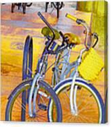 Beach Parking For Bikes Canvas Print