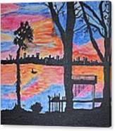 Beach Silhouette Canvas Print