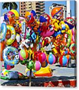 Beach Toys At Manta Beach Ecuador Canvas Print
