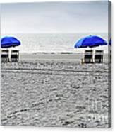 Beach Umbrellas On A Cloudy Day Canvas Print