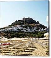 Beach View Of Lindos Canvas Print