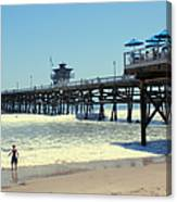Beach View With Pier 1 Canvas Print