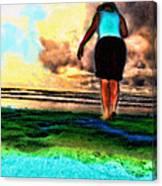 Beach Walking Canvas Print
