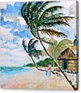 Beach With Palm Trees Canvas Print