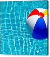 Beachball On Pool Canvas Print