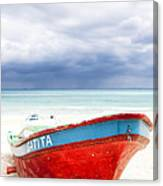 Beached Beyond The Storm - Riviera Maya Canvas Print