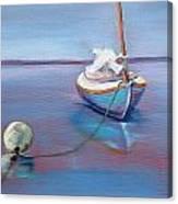 Beached Sailboat At Mooring Canvas Print