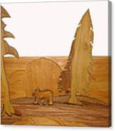 Bear Between Two Trees Canvas Print