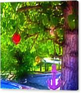 Beautiful Colored Glass Ball Hanging On Tree 1 Canvas Print