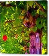 Beautiful Colored Glass Ball Hanging On Tree 2 Canvas Print