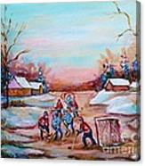 Beautiful Day For Pond Hockey Winter Landscape Painting  Canvas Print