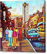 Beautiful  Downtown City Stroll  Cafe Paintings Montreal Restaurants On Crescent Street C Spandau Canvas Print