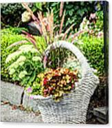 Beautiful Flowers In Basket Canvas Print