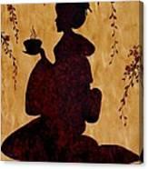 Beautiful Geisha Coffee Painting Canvas Print