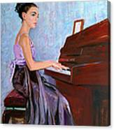 Beautiful Girl Playing Piano Canvas Print