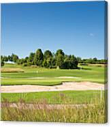 Beautiful Green Golf Course And Blue Sky Canvas Print