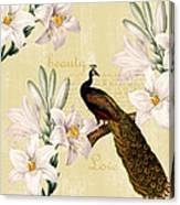 Beautiful Lilies Peacock Canvas Print