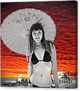 Beautiful Model And A Sunset  Canvas Print