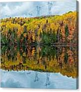 Beautiful Reflections Of A Autumn Forest In A Lake Canvas Print