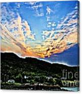 Beautiful Sky Over The Harbour Digital Painting Canvas Print