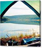 Beautiful View Of Calm Lake Looking Out Of Tent Canvas Print