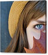 Young Woman And Leaf Canvas Print