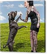 Beautiful Woman And Pit Bull Canvas Print