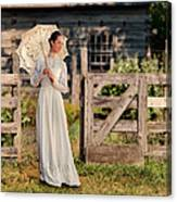 Beautiful Woman In White Dress With Parasol Canvas Print