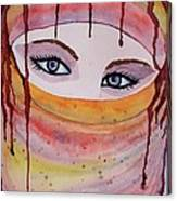 Beautiful Woman With Niqab Watercolor Painting Canvas Print