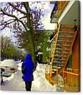 Beautiful Yellow Staircase Verdun Snow Scene Montreal Art Colors Of Quebec Carole Spandau Canvas Print