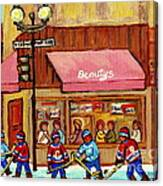 Beauty's Restaurant Paintings Of Plateau Montreal Winter Scenes Hockey Art Carole Spandau  Canvas Print