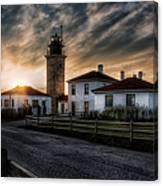 Beavertail Lighthouse Sunset Canvas Print