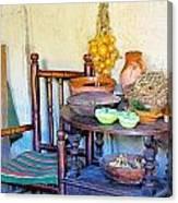 Bedside In A Pilgrim Cottage Canvas Print