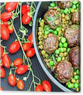 Beef Meatballs With Peas And Lemon Canvas Print