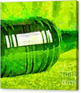 Beer Bottle Laying Over Green Painting Canvas Print