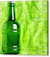Beer Bottle Over Green Painting Canvas Print