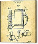 Beer Stein Patent From 1914 -vintage Canvas Print