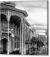Before The Gates Open In Black And White Walt Disney World Canvas Print