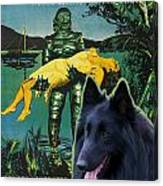 Belgian Shepherd Art Canvas Print - Creature From The Black Lagoon Movie Poster Canvas Print